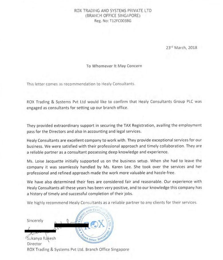 reference letter from Jim Rox Trading