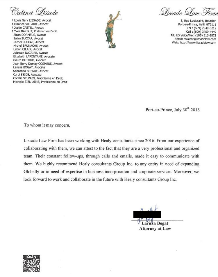 reference letter from Lissade Law firm
