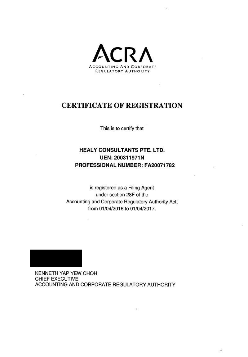 certificate for hc from ACRA