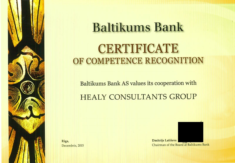 certificate for hc from BlueOrange (formerly known as Baltikums Bank)