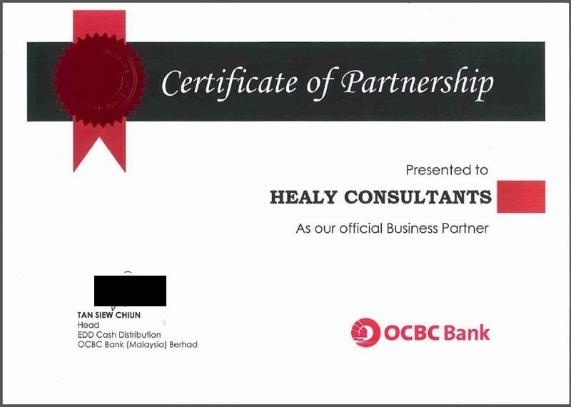 certificate for hcmalaysia from OCBC