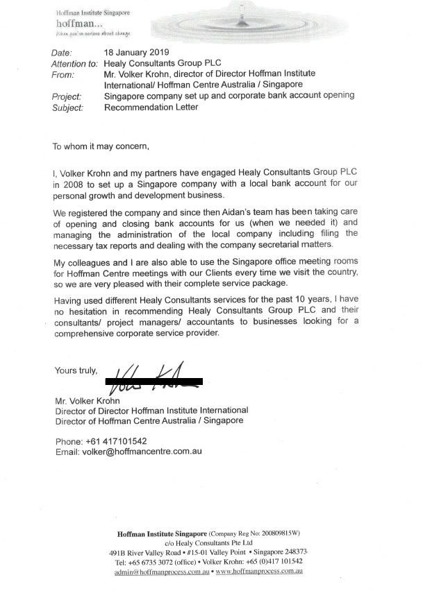 reference letter from Hoffman Institute International/ Hoffman Centre Australia and Singapore