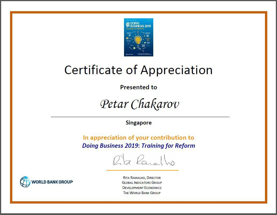 certificate for petar from World Bank