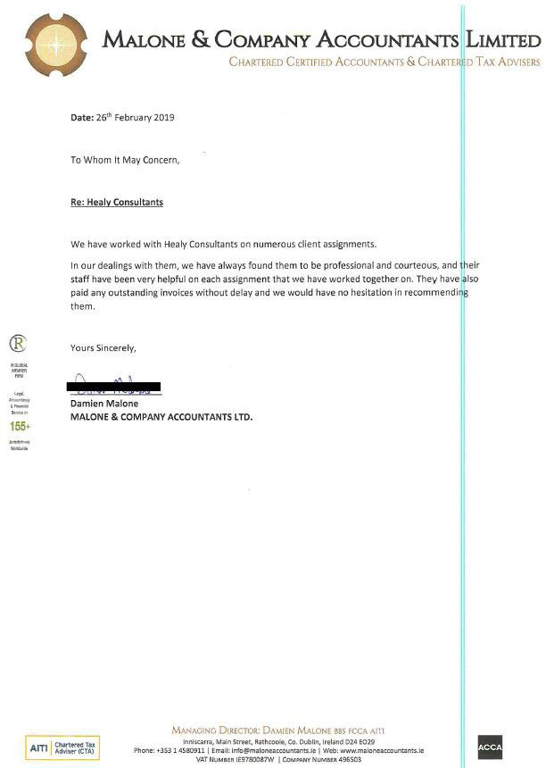 reference letter from Malone & Company