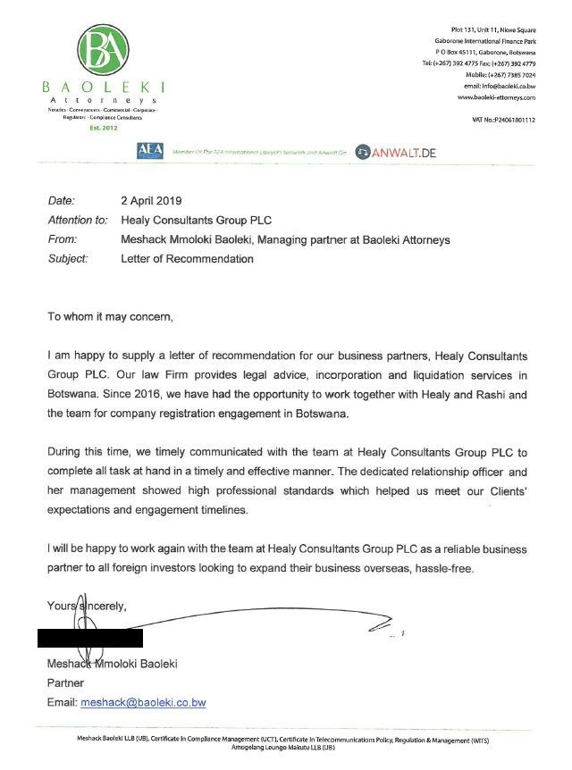 reference letter from Baoleki Attorneys