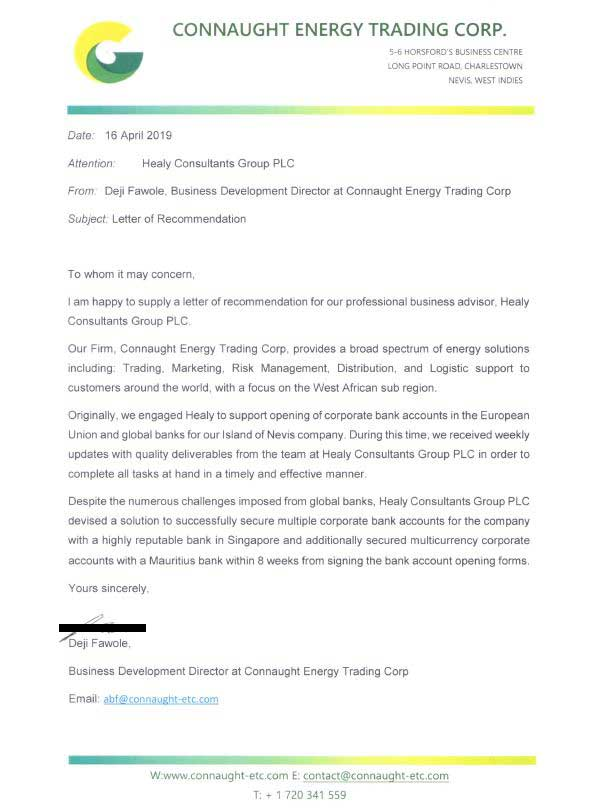 reference letter from Connaught Energy Trading Corp