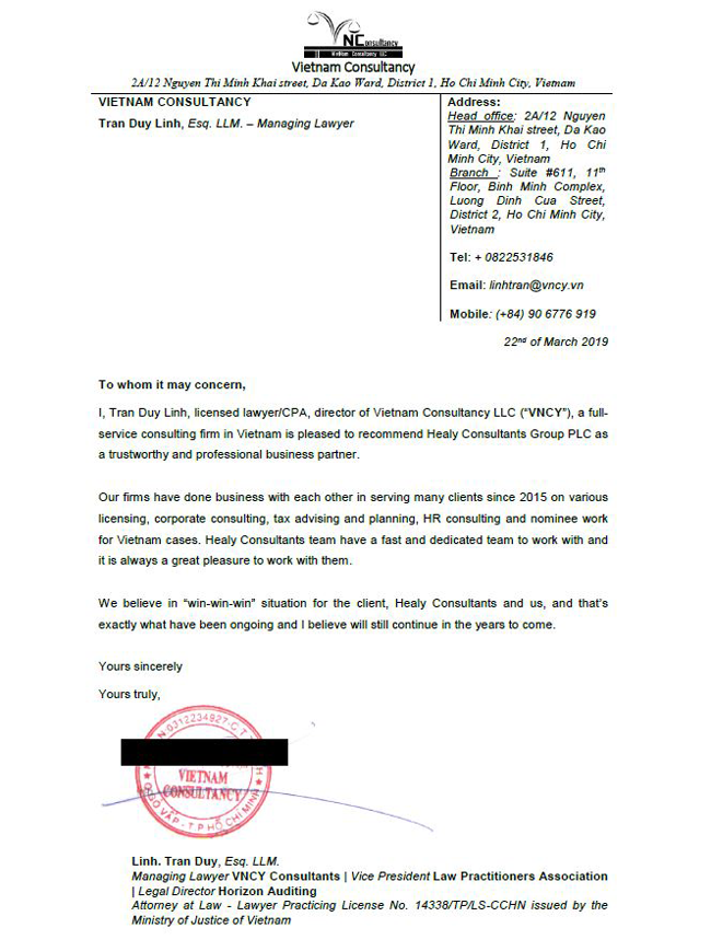 reference letter from VNCY Consultants