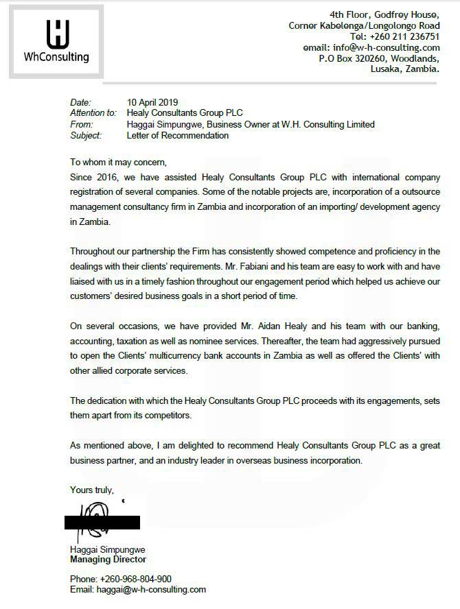 reference letter from W.H. Consulting Limited