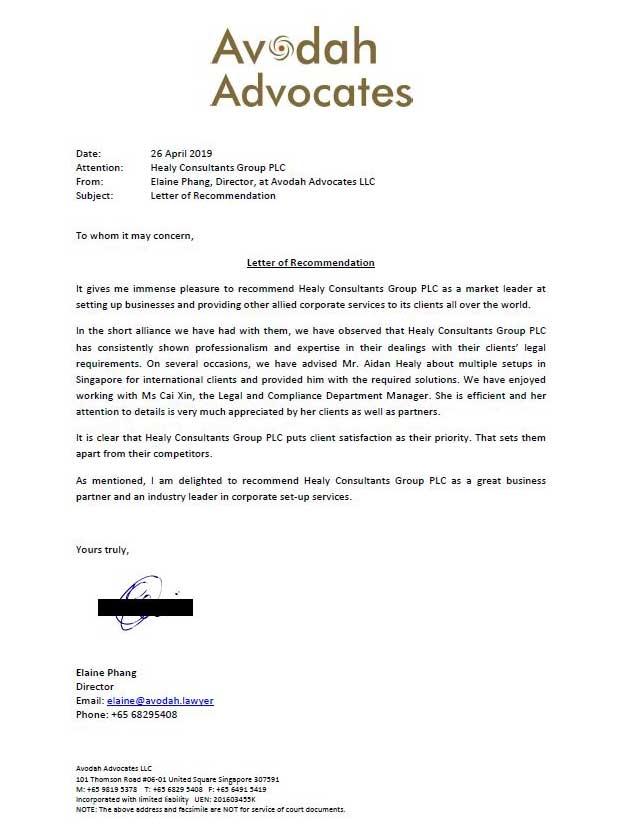 reference letter from Avodah Advocates LLC