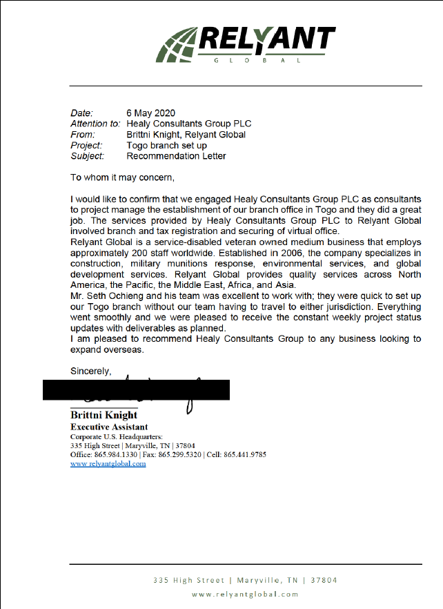 reference letter from Relyant Global