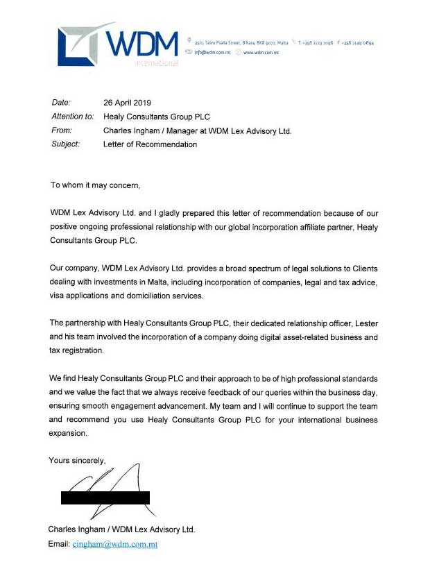 reference letter from WDM International