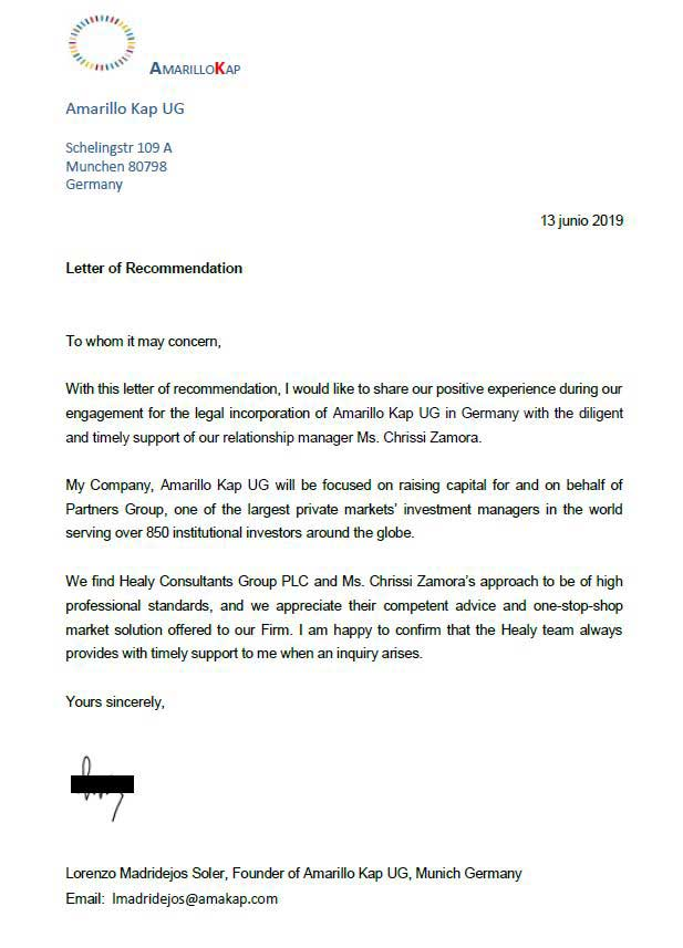 reference letter from Amakap Ltd
