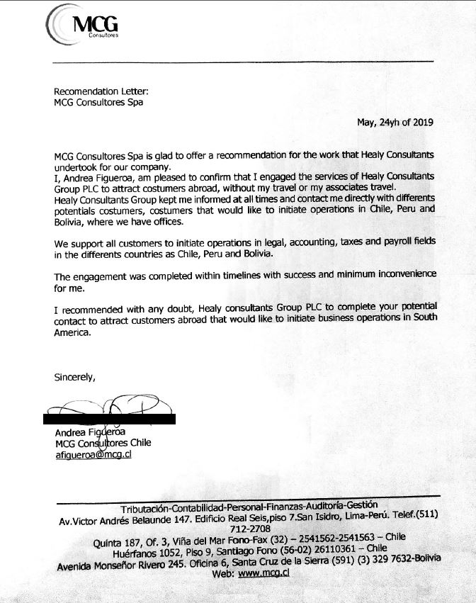 reference letter from MCG Consultores