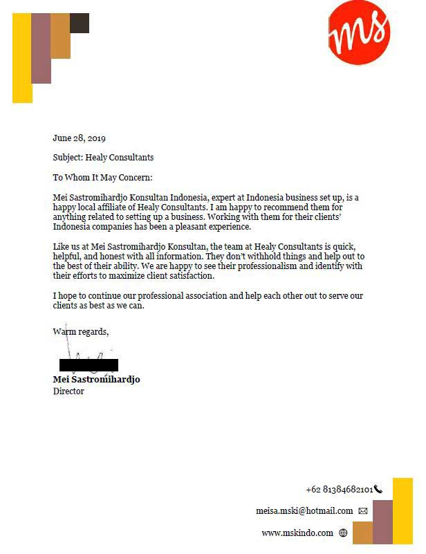 reference letter from PT. Mei Sastromihardjo Konsultan Indonesia
