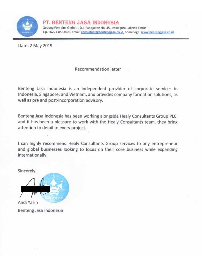 reference letter from PT Benteng Jasa Indonesia