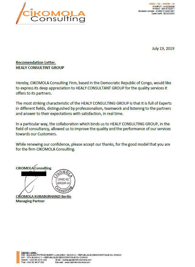 reference letter from Cikomola Consulting