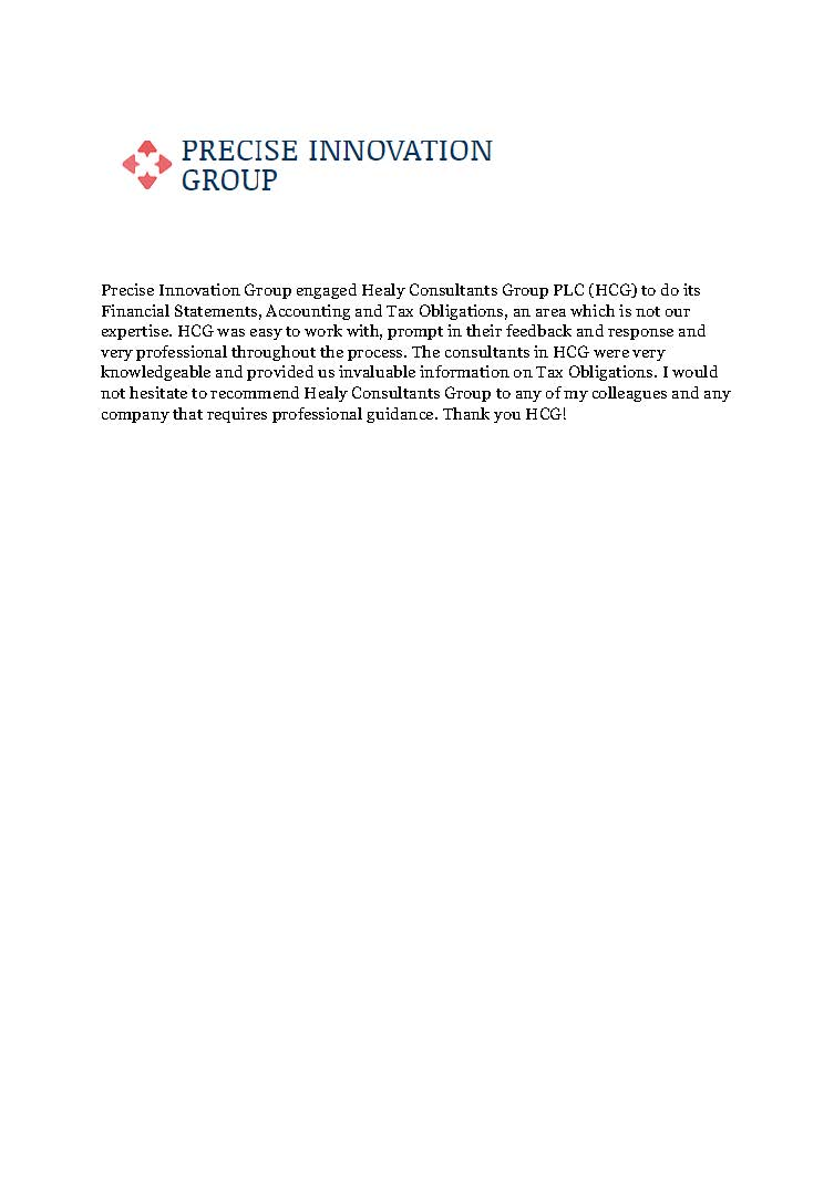 reference letter from Precise Innovation Group