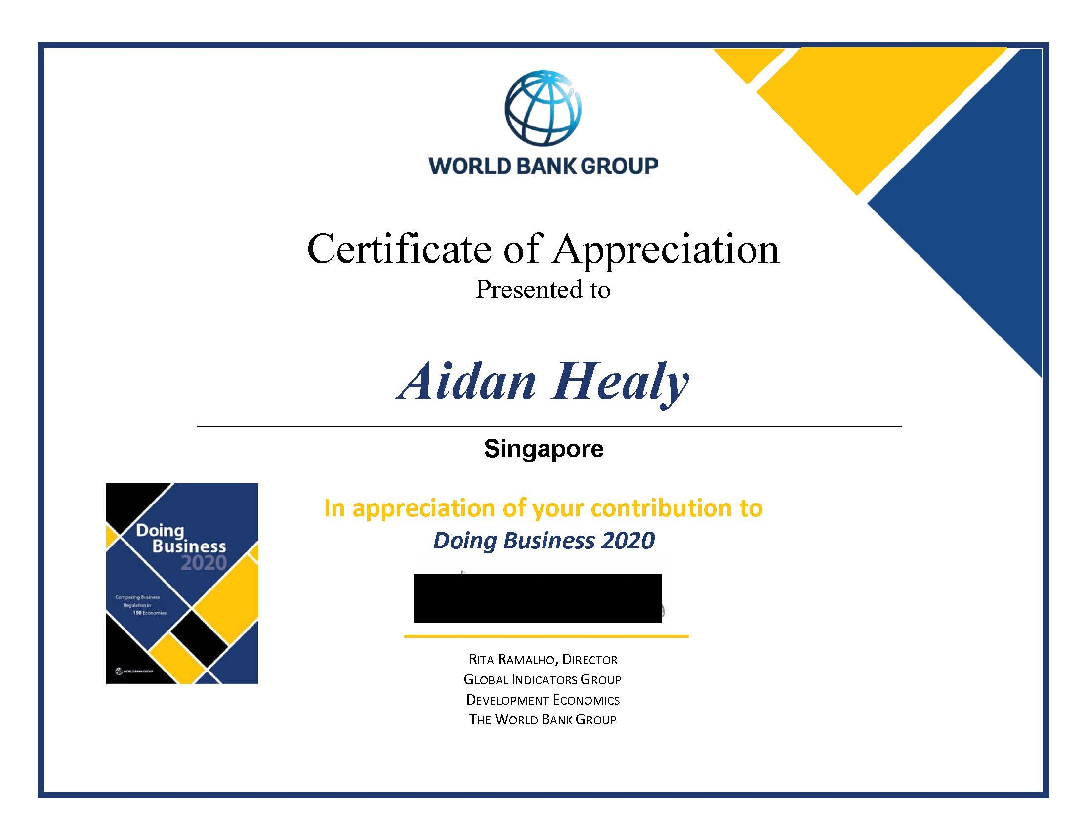 certificate for aidan from World Bank