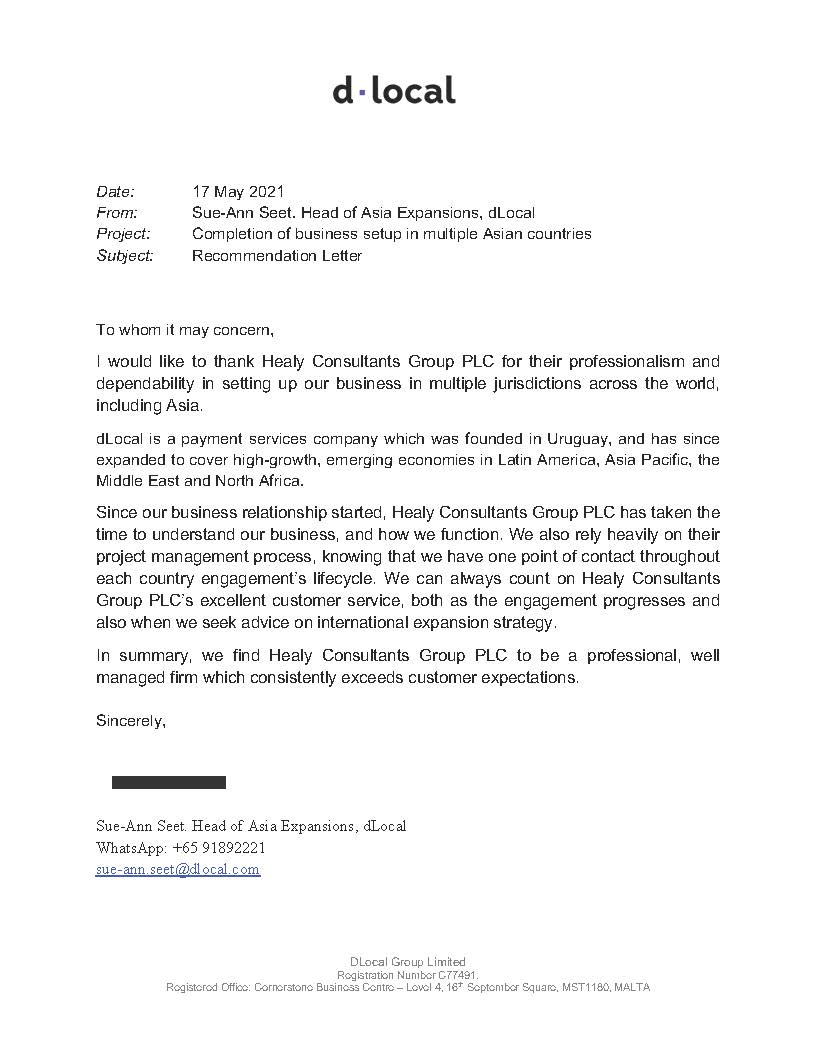 reference letter from DLocal