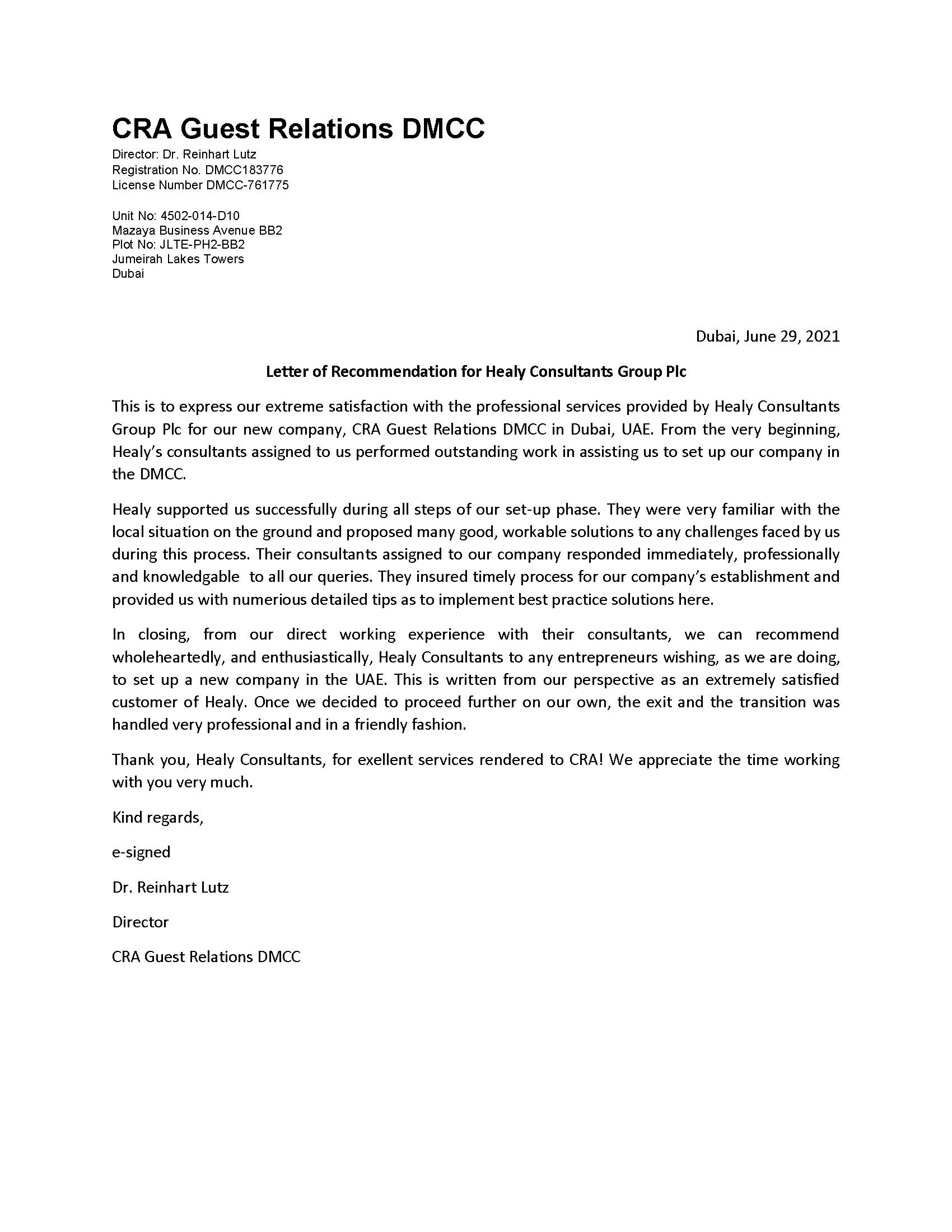 reference letter from CRA Guest Relations DMCC
