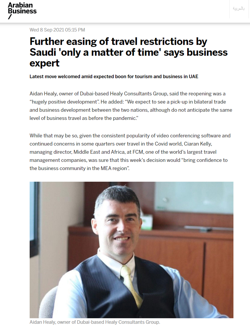Aidan Healy of Healy Consultants Comments on travel restrictions by Saudi Arabia