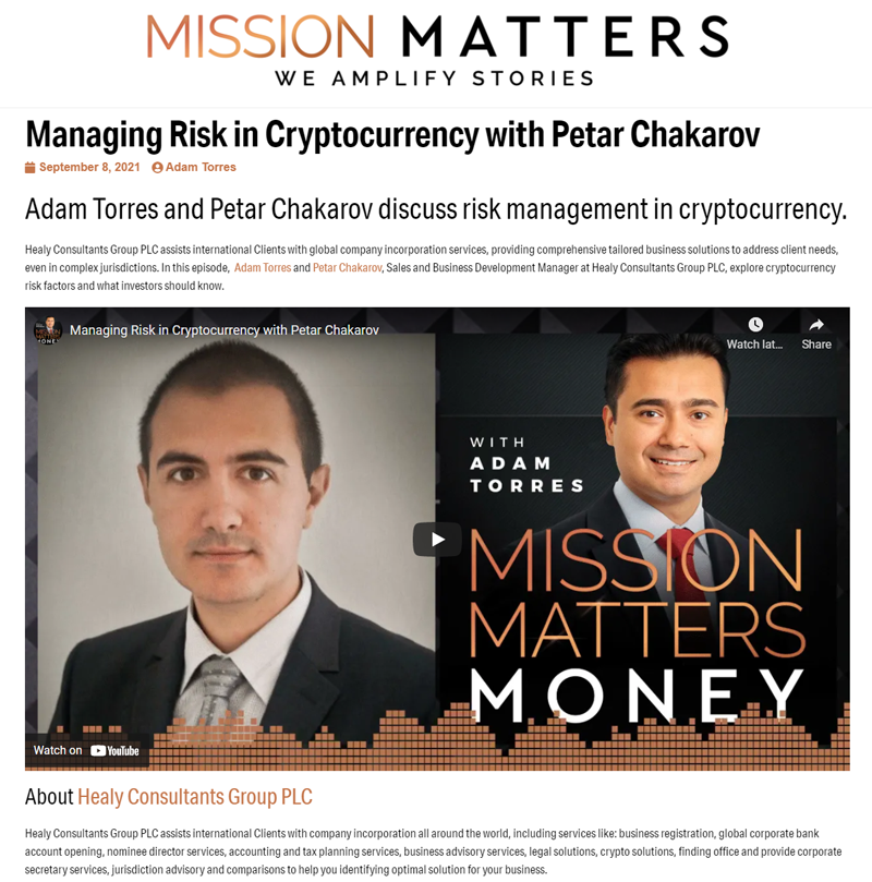 Podcast interview with Petar from Healy Consultants with Mission matters